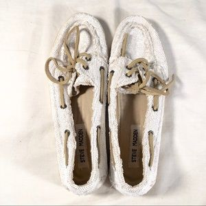 Steve Madden Yachtt Sequined Boat Shoes Size 8.5